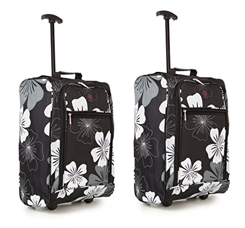 Compass , Trolley nero Black/White Floral Bagaglio a mano