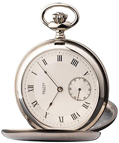 Regent Unisex-Armbanduhr Analog Handaufzug One Size, silberfarben, Silber