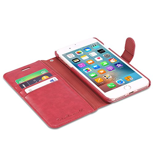 iPhone 7 Plus Hülle, TUCCH Schutzhülle iPhone 7 Plus, Tasche [Lifetime Garantie] mit [Displayschutzfolie] [abnehmbare Handschlaufe] [Standfunktion] [Kartenfach], Schwarz Rot