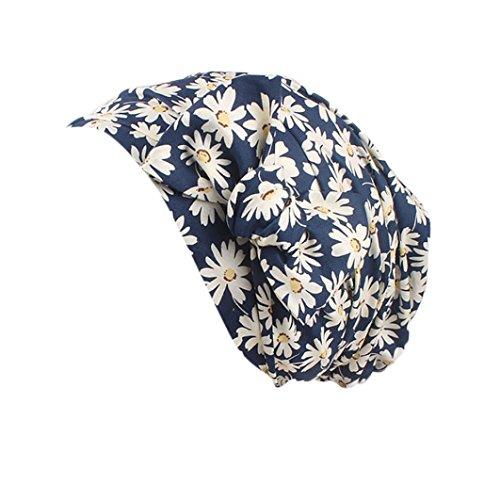URSING Damen Kopftuch Islam Frauen Indien Muslim Stretch Hut Retro Vintage Blumen Drucken Baumwolle Turban Hut Wrap Cap Headwear Headwear für Haarverlust, Krebs, Chemotherapie (C)