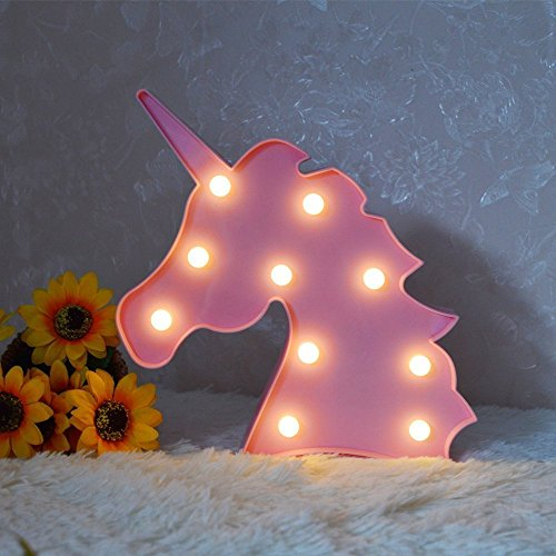 Lámpara LED para niños Lámpara para niños Unicornio Signos luminosos Fiesta de cumpleaños Decoración de la pared Batería para habitación de los niños, Sala de estar, Dormitorio (rosa)