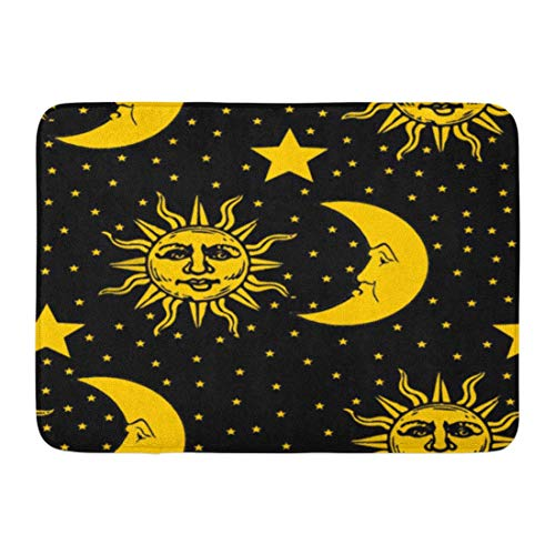 LIS HOME Badematte gemusterte Sonne Mond Sterne Muster Himmel Astronomie Akzent Badezimmer Dekor Teppich - Sterne Mond Badezimmer Und Sonne
