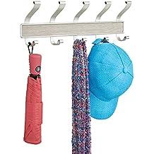 mDesign Perchero de 10 ganchos, para colocar sobre perfil de puerta; organiza sacos, sombreros, batas, toallas - Satinado/terminación madera gris