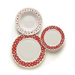 Idea Regalo - Excelsa 60288 England Servizio Tavola 18 Pz - Porcellana - Bianco/Rosso