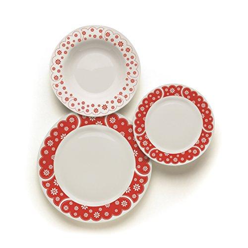 Excelsa England Servizio Tavola 18 Pz, Porcellana, Bianco/Decoro Rosso, 20x36x28 cm, unità