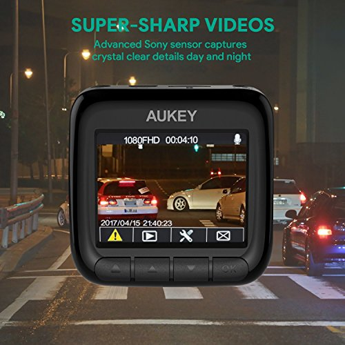 AUKEY Dash Cam Full HD 1080P, 170° Wide Angle Lens, Night Vision, Motion Detection, G-Sensor, WDR and Loop Recording, Mini DVR Camera Dashboard with 2 Ports Car Charger (DR01)