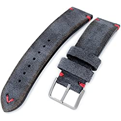 21mm MiLTAT Dark Grey Genuine Nubuck Leather Watch Strap, Red Stitching, Sandblasted