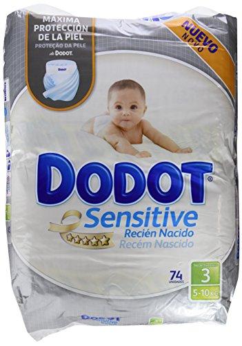Foto de Dodot Sensitive - Pañales para bebés, talla 3 (5 - 10 kg), 2 packs de 74, 148 pañales