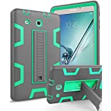 Galaxy Tab E 8.0 Case,TOPSKY [Kickstand Feature] Heavy Duty Shockproof High Impact Hybrid Resistant Bumper Protective Case Cover for Samsung Galaxy Tab E 8 inch T377/T375 Tablet, Grey/Green