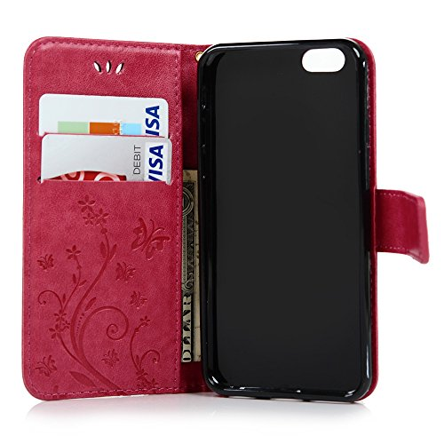 iPhone 6 Coque, iPhone 6S Coque, Bookstyle Étui Papillon & Fleurs Housse Imprimé en PU Cuir Case à rabat Coque de Protection Portefeuille TPU Silicone Case pour iPhone 6/ iPhone 6S - Grey Hot Pink