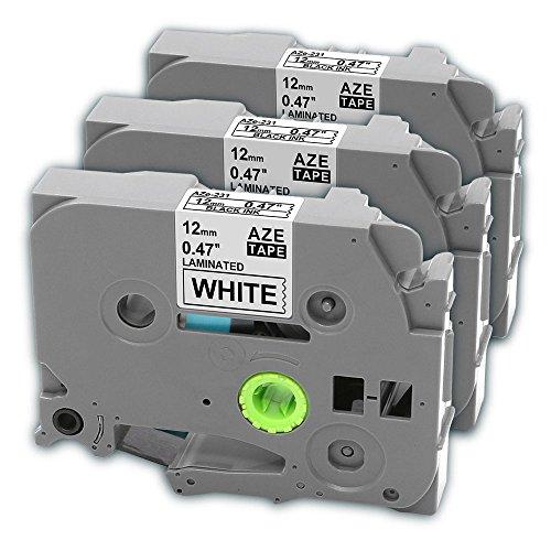 3er tze231 Standard Laminiertes Etikettenbänder, tz231 Klebebandkassette Kompatibel für Brother P-touch Schriftband Etikettiermaschine PT-900 PT-1000 PT-1005 PT-1010 PT-1080 PT-h75 PT-h101c PT-h105 PT-100lb Schwarz auf Weiß 12mm x 8m