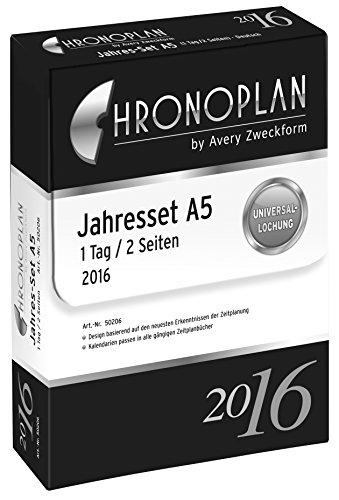 Chronoplan 50206 Kalendarium Jahres-Set A5, 2016, 1 Stück, weiß