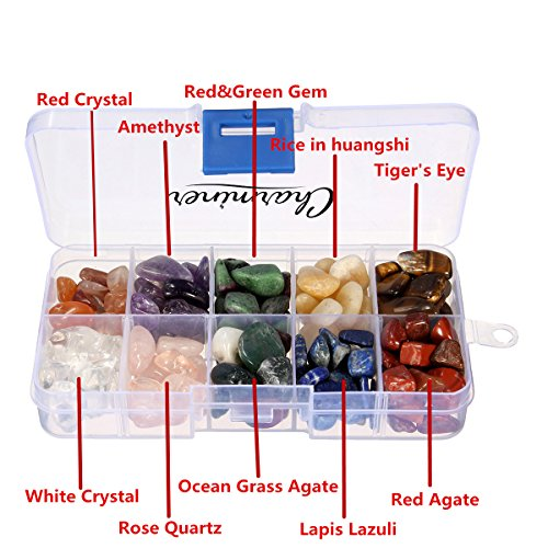 confronta il prezzo Cristallo di quarzo, Charminer 223g 10-Stone Mix: Red Crystal.Amethyst, Red & Green della pietra preziosa, Giallo Agata, Occhio di Tigre, Turchese, Quarzo Rosa, olive verdi, Lapislazzuli, agata rossa, naturale è caduto pietre miglior prezzo