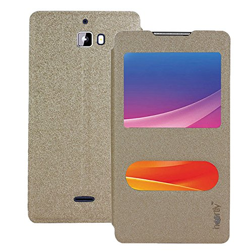 Heartly GoldSand Sparkle Luxury PU Leather Window Flip Stand Back Case Cover For Micromax Canvas Nitro A310 A311 Dual Sim - Hot Gold