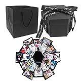 Urio Caja de explosión Negra, Creativa, Hecha a Mano, álbum de Fotos, Caja de Regalo para Navidad, cumpleaños, Aniversario, San Valentín, Regalo de Boda