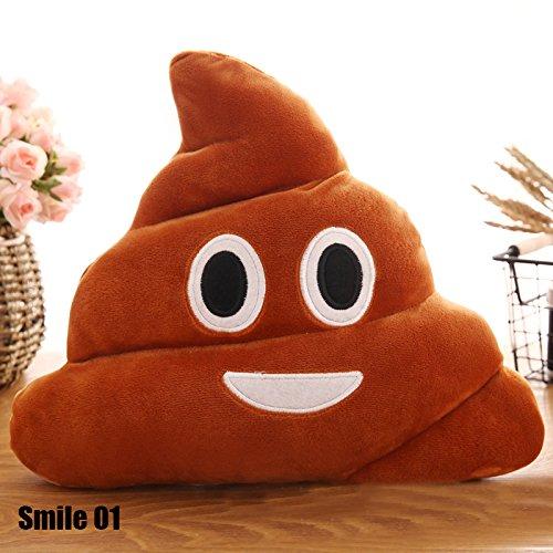 Calistouk - simpatico peluche stile emoji a forma di cacca, cuscino decorativo per letto, divano, auto smile 01