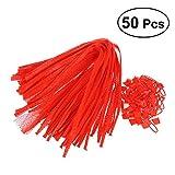 OUNONA 50 Stücke Netzbeutel wiederverwendbare Mesh Taschen für Gemüse und Obst Lagerung 60 CM (Rot)