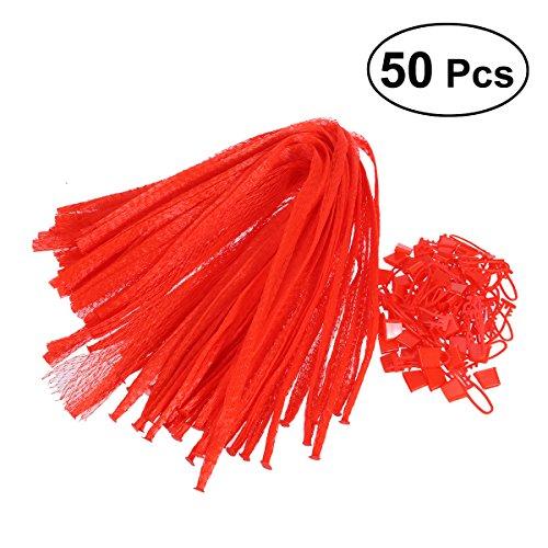 OUNONA 50 Stücke Netzbeutel wiederverwendbare Mesh Taschen für Gemüse und Obst Lagerung 60 CM (Rot) - Lagerung Auberginen
