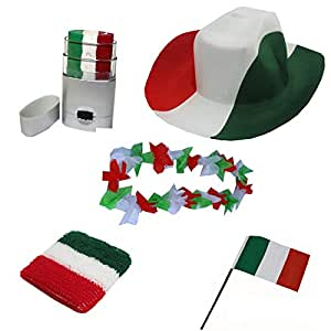 Sonia Originelli Fan Paket Italien Fahne Flagge Schminkstift Cowboyhut Blumenkette Italia Flag ITA-SET-2