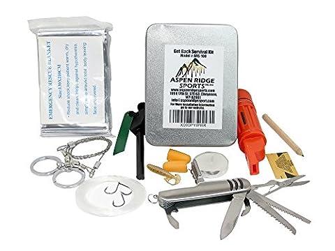 Überlebensausrüstung mit Feueranzünder und Notfall-Mylar-Decke fur Selbsthilfe Außen Get Back Survival-Kit von Aspen Ridge Sports