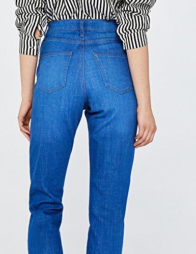 FIND Damen Kurz Geschnittene Mom Jeans mit Hohem Bund