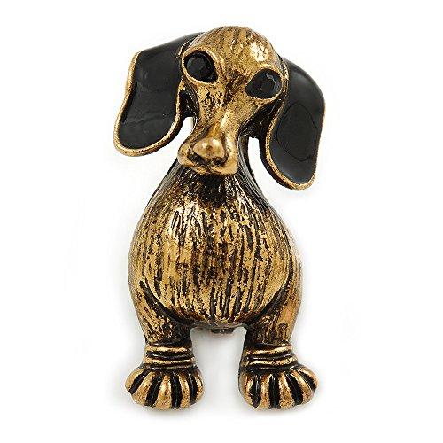 Unbekannt Silberton Vintage inspiriert Dackel Hund Brosche in Antik Gold Ton-33mm hoch -
