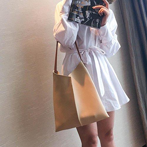 Fami- Sacchetti da spiaggia della borsa della borsa di acquisto della borsa della borsa di grande capacità della borsa delle donne Cachi