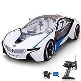 BMW i8 Vision - RC ferngesteuertes Modellauto Sonderedition mit wiederaufladbarem Akku und eingebaute LEDs, Modell-Maßstab 1:14, Komplett-Set inkl. Fernsteuerung, Akku und Ladegerät