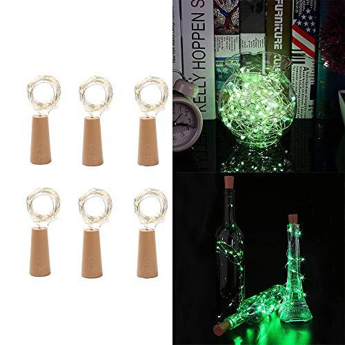 ichter mit Cork 6 Satz 20 LED Batterie betrieben Cork Form Kupferdraht Fairy Mini-Schnur-Lichter 1 M / 3.3ft für DIY-Partei-Dekor Hochzeit Indoor Outdoor ()