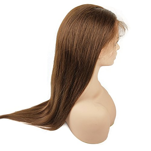 Mila 100% Remy Menschliches Haar Perücke Mittel Braun 4# Full Lace Wig Glatt Brasilianisches Virgin Haar 130% Dichte met Baby Hair 16inch/40cm -