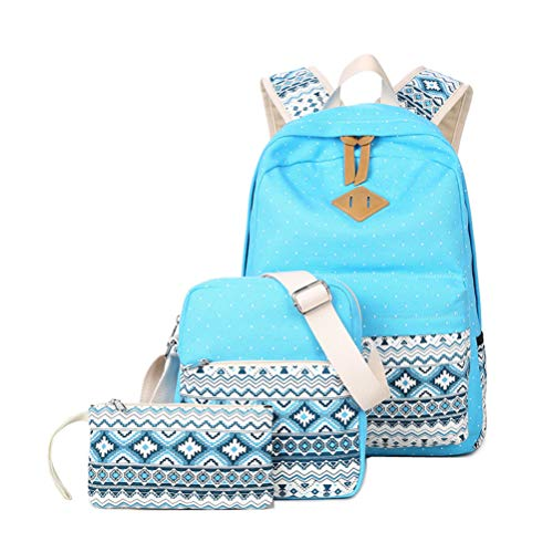 34dbfb8626fb 3pcs Set Women Backpack Canvas School Bag For Girls Teenagers Laptop Bag(Sky  Blue