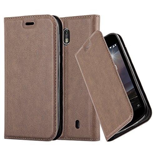 Cadorabo Hülle für Nokia 1-2017 - Hülle in Kaffee BRAUN – Handyhülle mit Magnetverschluss, Standfunktion und Kartenfach - Case Cover Schutzhülle Etui Tasche Book Klapp Style