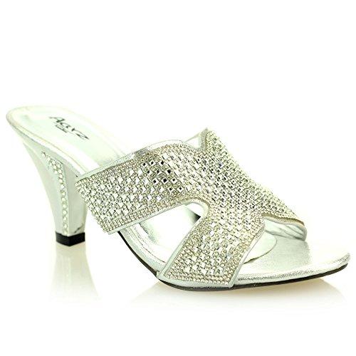 Le donne signore sera festa di nozze slittamento delle dimensioni medie tacco punta aperta Diamante scarpe da sposa sandalo (Oro,Argento)