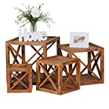 WOHNLING 4er Set Beistelltische Massivholz Sheesham Satztisch Cubes Wohnzimmer-Tische Design Landhaus-Stil Couchtisch Modern Holztisch Natur-Produkt braun Echt-Holz Unikat Würfel-Regal kombinierbar