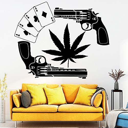 57x70cm Cartoon Gun Playing Card Sticker Wall Decal Sticker For House Decoration Wohnzimmer Schlafzimmer Waterproof Wall Art Decal