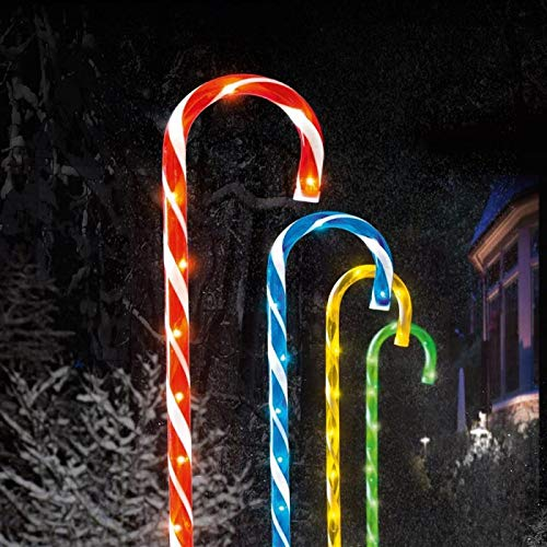 Weihnachtsbeleuchtung Zuckerstangen.Set Of Four Premier 62cm Led Acrylic Candy Canes With 40 Lights Ground Spikes