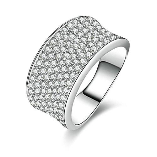 (Personalizzati Anelli)Adisaer Anelli Donna Argento 925 Anello Fidanzamento Incisione Gratuita Ovale Doppio Anello Diamante Pave Taglia 18,5 - 14k Dell'anello Indiano