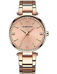 Reloj de Mujer Globenfeld Starlight, con 68 Cristales Swarovski, Reloj Acero Inoxidable Color Oro Rosa, Analógico, Sumergible, 90 Días de Garantía