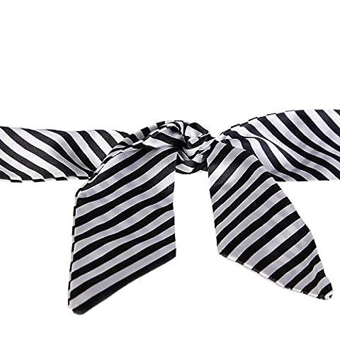 Geschenk Kauf nützlich–Haarband–Halstuch–Schal–Haarreif–Gürtel Alles in einem, Gestreift, Schwarz, Weiß, Rot Gr. S, Blau - Blau