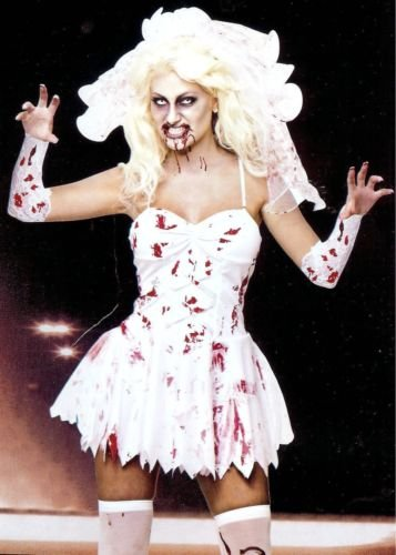 FANCY DRESS LADIES BLOODY ZOMBIE BRIDE HALLOWEEN COSTUME W/BLOODY VEIL - LARGE SIZES 16-18 by Best Dressed