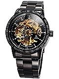 Alienwork IK Orologio automatico Scheletro meccanico uomo sport Design senza età Acciaio INOX nero 98226-07