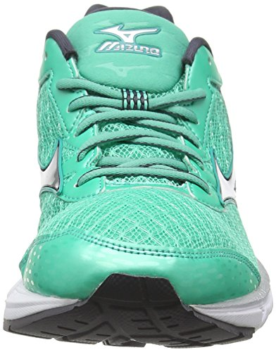 Mizuno Wave Rider 19 (W), Chaussures de Running Compétition Femme Green (Electric Green/Silver/Periscope)