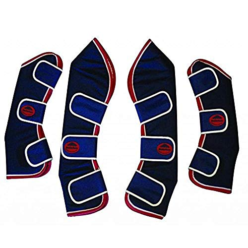 Weatherbeeta Transportgamaschen mit breiten Laschen, lang (Full) (Marineblau/Rot/Weiß)