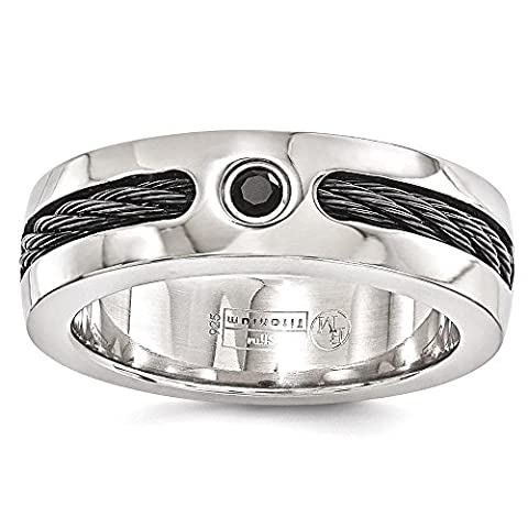 IceCarats Edward Mirell Titanium Cable Black Spinel 925 Sterling Silver Bezel 7mm Wedding Ring Band