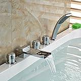 Galvanik Retro Wasserhahn Deck montiert Badezimmer verbreitete Lange Wasserfall Auswurfkrümmer Whirlpool Mixer Armatur Badewanne 5 Stk Hahn mit Handdusche, Gelb