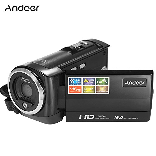 Andoer HDV-107 Digital Video Camcorder Kamera HD 720P 16MP DVR 2.7 '' TFT LCD Screen 16x ZOOM Schwarz