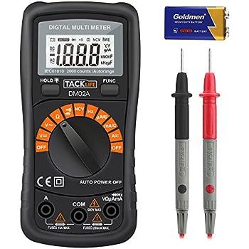 Tacklife DM02A Klassisches Digital Multimeter Auto Range Multi Tester zum Messen von Gleich(DC) - und Wechsel(AC)-Spannung, Strom, Dioden sowie Widerstand mit Hintergrundbeleuchtung ( Rot/ Schwarz )