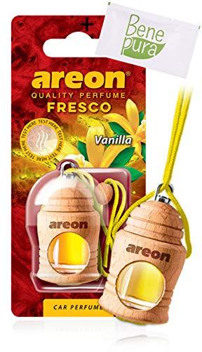 AREON Auto Deodorante Profumo Fresco 4ml-Diffusore di Profumo di Vaniglia-Bottiglia da Appendere con Copertura in Legno Naturale, a Lunga Durat