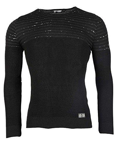 BLZ jeans - Pull homme noir aspect tâché Noir