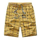 JiaMeng Pantalones Cortos de Ciclismo Hombres Enrejado de impresión algodón Suelto Deporte Playa Pantalones Cortos Pantalones MTB o Deportes al Aire Libre